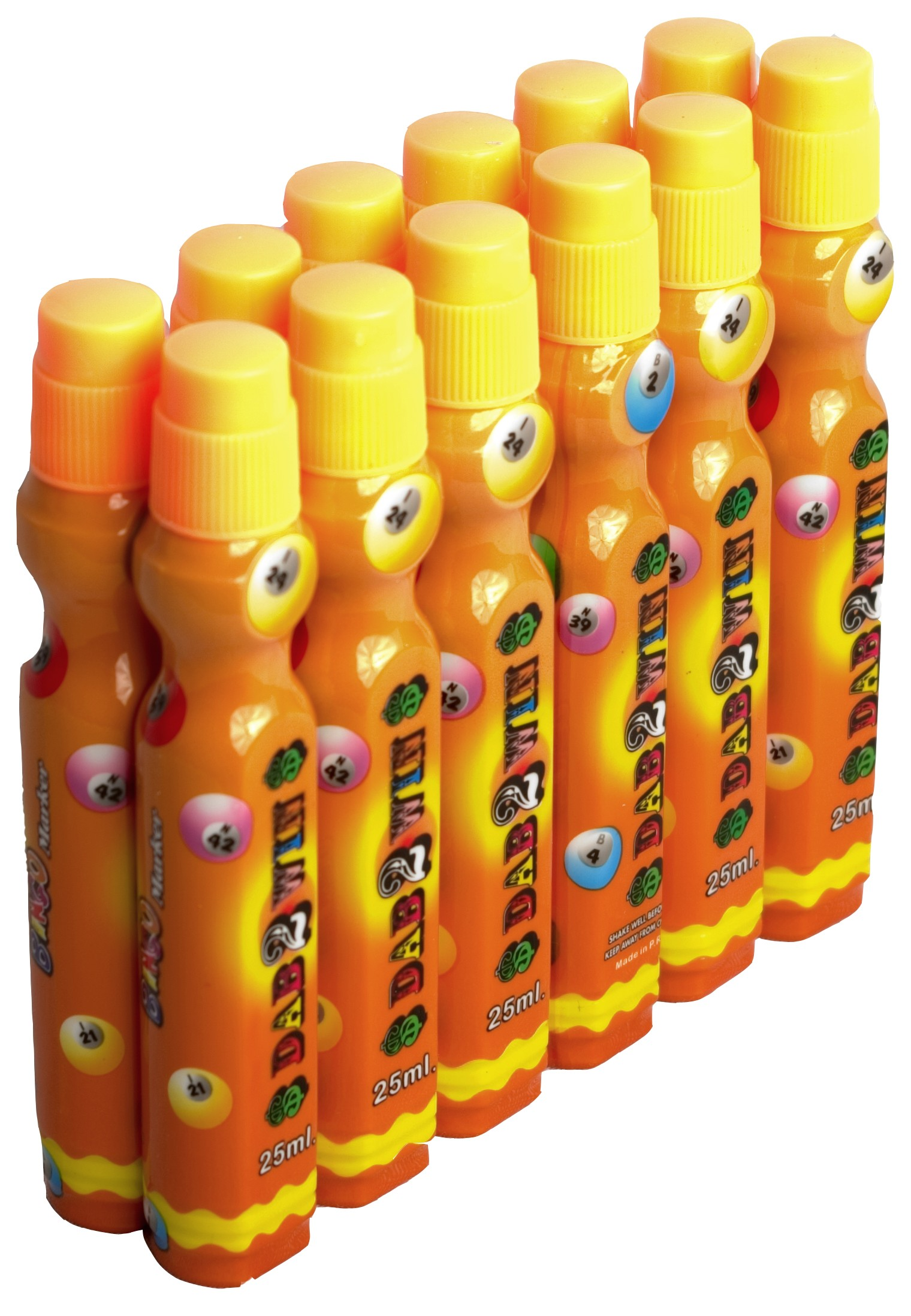 Dozen 25ml Orange Slimline Bingo Dabber Markers