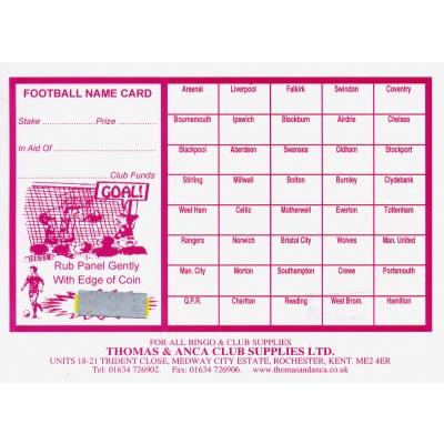 Football Fundraiser Cards 40 Teams - Pack of 25