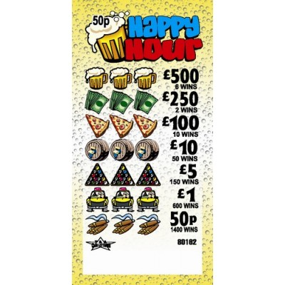 Happy Hour 50p Pull Tab Lottery Ticket