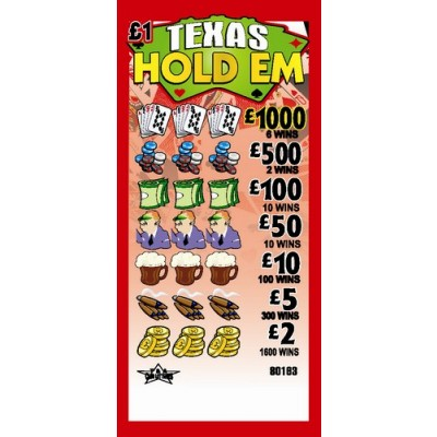 Texas Hold Em £1 Pull Tab Lottery Ticket