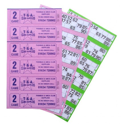 3000 2 Game Bingo Ticket Books 6 or 12 to View
