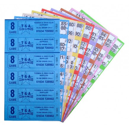 3000 8 Game Bingo Ticket Books 6 or 12 to View