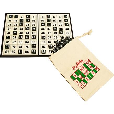 1-90 Bingo Discs, Checkboard & Draw String Bag