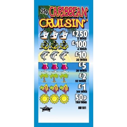 Caribbean Cruisin' 25p Pull Tab Lottery Ticket