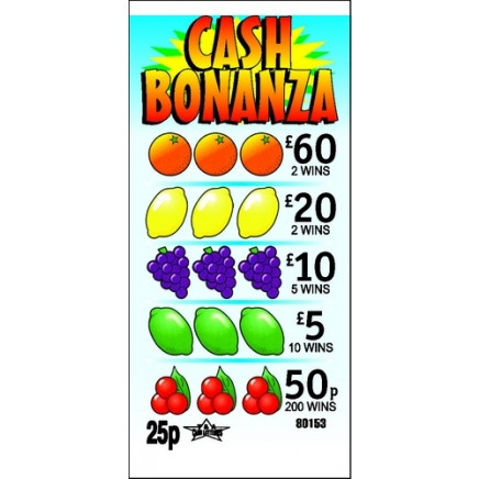 Cash Bonanza 25p Pull Tab Lottery Ticket