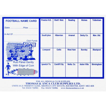 Football Fundraiser Cards 20 Teams - Pack of 25