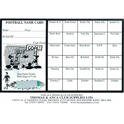 Football Fundraiser Cards 30 Teams - Pack of 25
