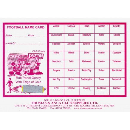 Football Fundraiser Cards 40 Teams - Pack of 25