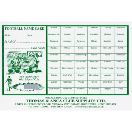 Football Fundraiser Cards 60 Teams - Pack of 25