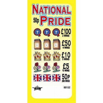 National Pride 50p Pull Tab Lottery Ticket