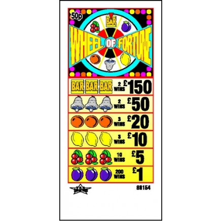 Wheel Of Fortune 50p Pull Tab Lottery Ticket