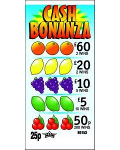 Cash Bonanza 25p Pull Tab Lottery Ticket