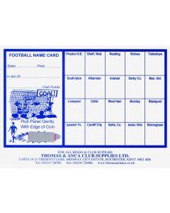 Football Fundraiser Cards 20 Teams - Pack of 25