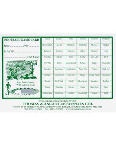 Football Fundraiser Cards 60 Teams - Pack of 25