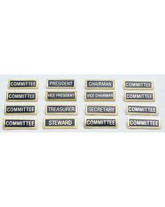 Set of Club Committee Metal Name Badges (16 Badges)