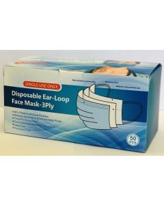 Disposable Ear-Loop Face Mask 3 Ply Box of 50