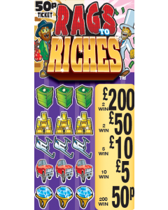 Rags 2 Riches 50p Pull Tab Lottery Ticket