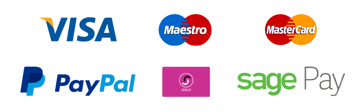 We accept Visa, Mastercard, Maestro, PayPal, Solo - Supported by SagePay